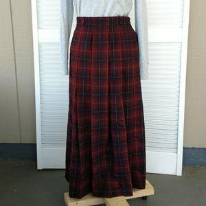 Orvis plaid pleated wool field long skirt pocket 8